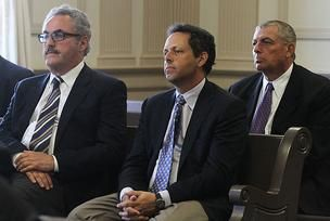 From left, Zygi Wilf, Mark Wilf, and Leonard Wilf appear in a New Jersey court Monday as Judge Deanne Wilson reads her decision following a two-year civil trial in a 21-year-old lawsuit.