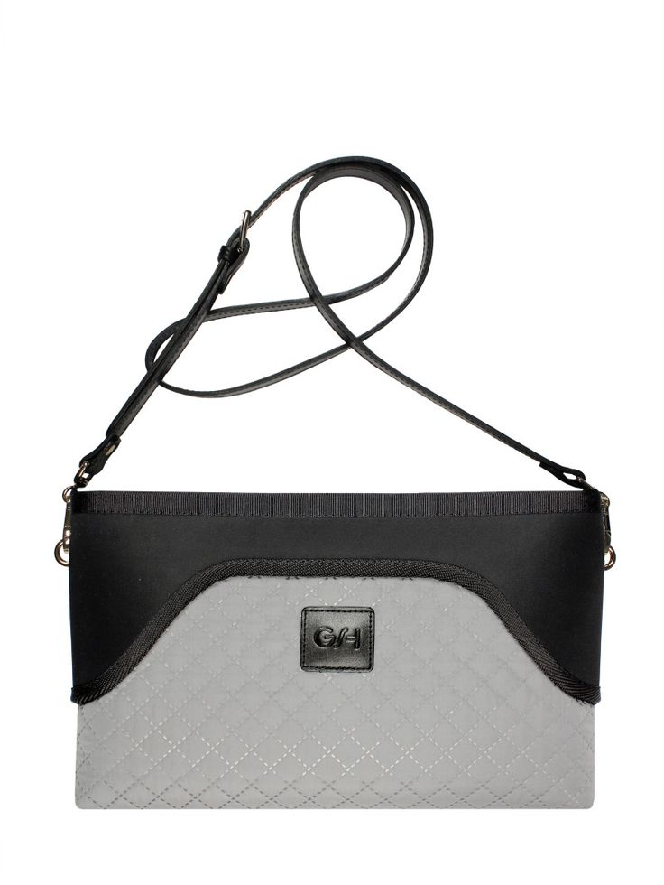 GOSHICO, ss2015, Flowerbag (clutch with belt), grey + black. To download high or low resolution photos view Mondrianista.com (editorial use only).