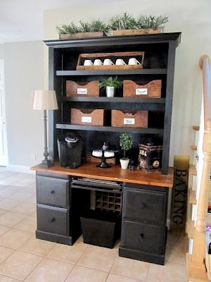 Sew Many Ways...: great blog for organization ideas!  This idea is for making a coffee/tea bar.....way cool!  Love the idea using old wooden tool boxes to store the stuff in!