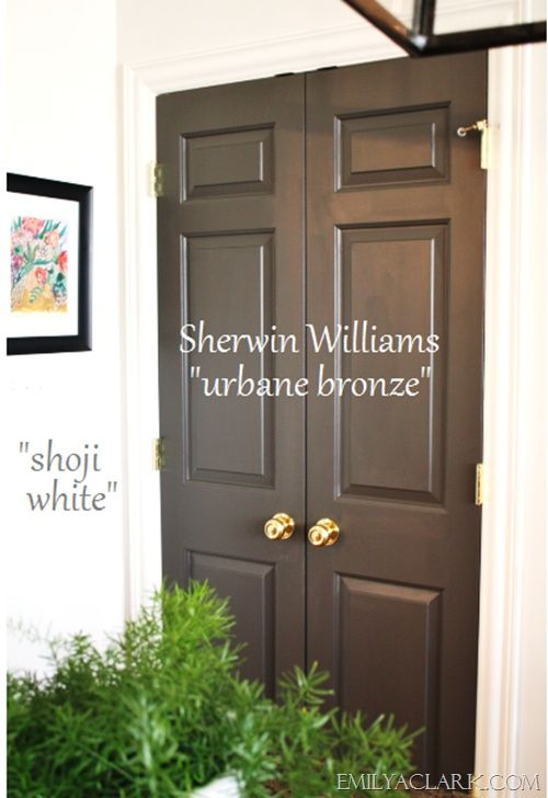 Sherwin Williams Urbane Bronze - use as black substitute. Adore this color great dark color to use if black is not what you want. Great neutral. Used on shutters on my home. Beautiful!!! Rich color . .