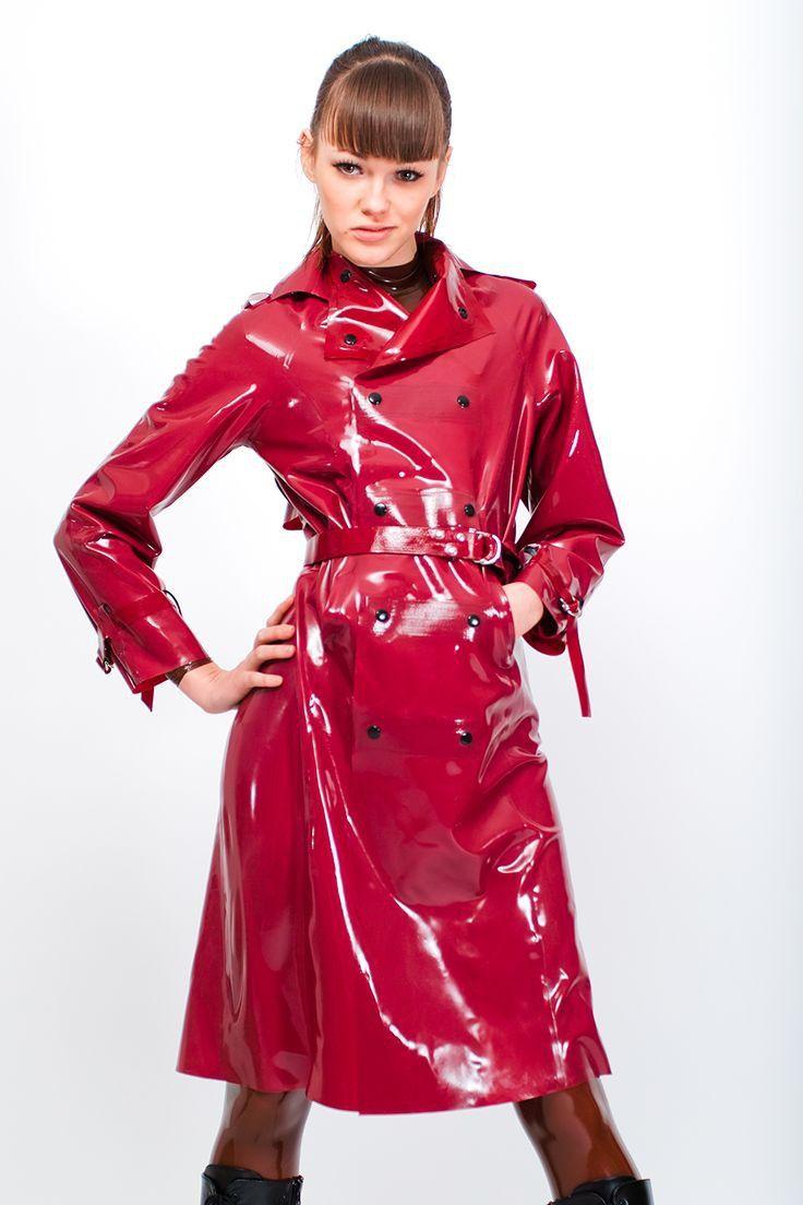 Shiny Red Latex Raincoat