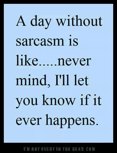 A day without sarcasm... We probably would've never talked if it weren't for sarcasm lol