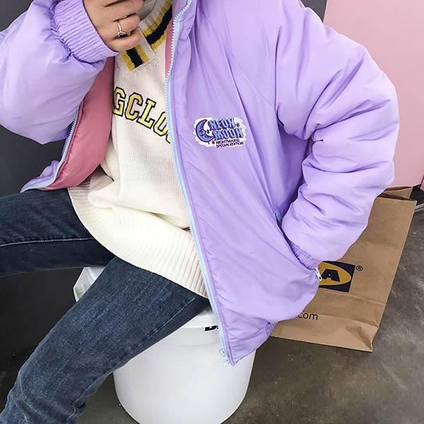 Neon Moon Bomber Jacket, boogzel, grunge, soft grunge, grunge fashion, aesthetic clothes, aesthetic outfit, pale grunge, pastel grunge, aesthetic tumblr, card crop top, card embroidery