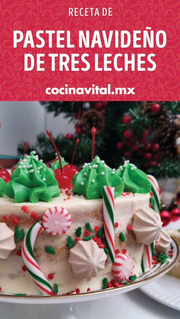 Un dulce detalle para compartir y qué mejor que hacerlo con un pastel navideño de tres leches, ¡llena de colores esta Navidad preparando esta rica receta! Bread, Desserts, Blog, Frases, Tres Leches Cake, Gourmet Desserts, Cake Recipes, Egg Wash, Sweets