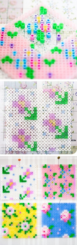 Floral cross stitch using perler beads