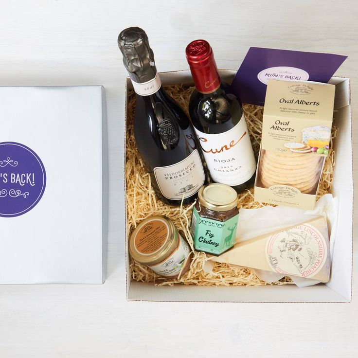 I've just found Boozy Mum's Back Gift Box. An indulgent hamper of wine, cheese, chutney, biscuits and paté, that is sure to end mum's abstinence in style!. £68.00