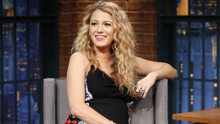 blake_lively_late_night_pregnant; Crimped hair, don't care! bright blue Lorraine Schwartz earrings on June 24 in New York City