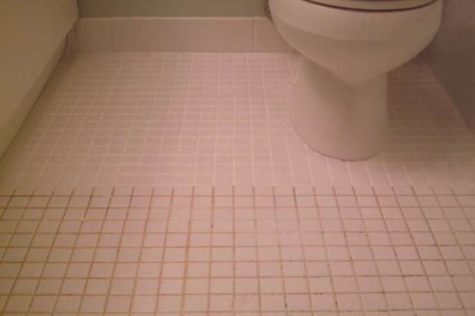 Ugly grout? Mix 7 cups water, 1/2 cup baking soda, 1/3 cup lemon juice and 1/4 cup vinegar. Spray the concoction onto the dirty grout, let sit, and scrub with a brush.
