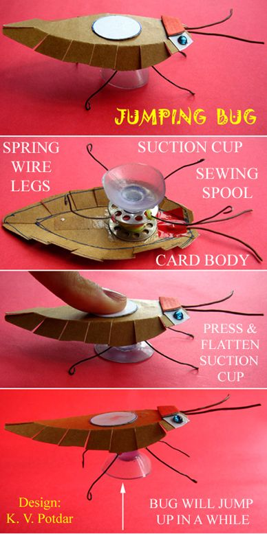 Jumping Bug made w/ carboard, wire & suction cups