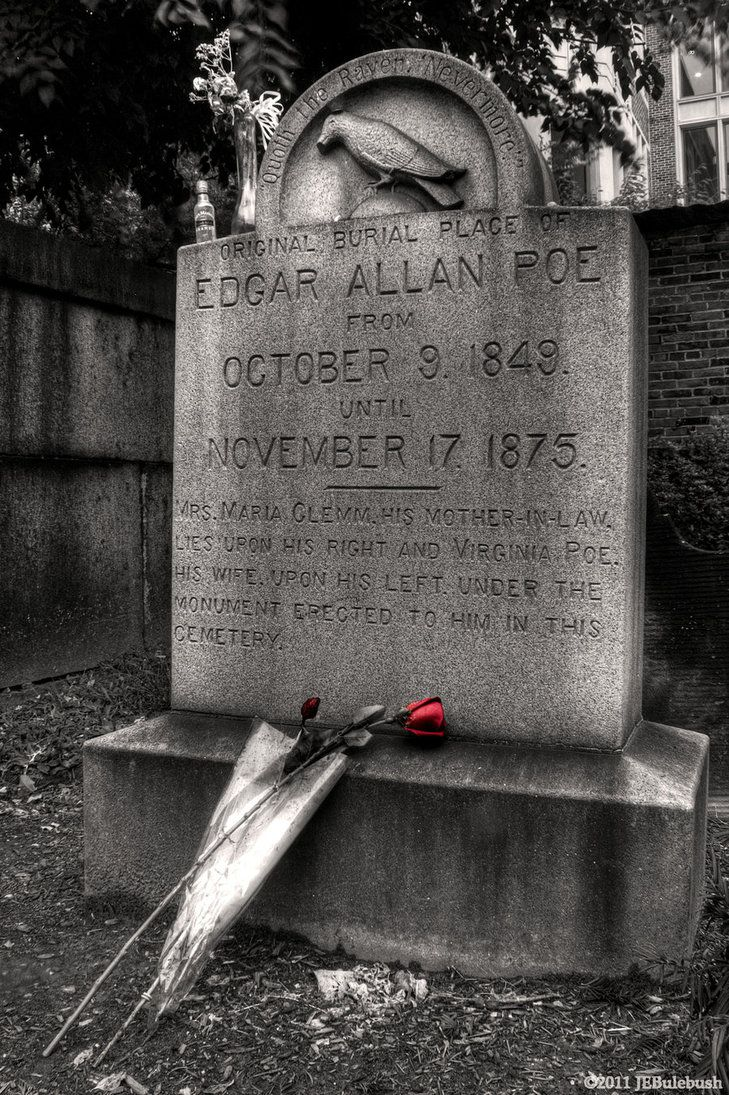 "On October 3, 1849, Poe was found delirious and in distress on the streets of Baltimore. He died 4 days later on October 7. Adding to the mystery of Poe's death, a visitor affectionately known as the ""Poe Toaster"" paid homage to Poe's grave annually beginning in 1949 with 3 red roses and a bottle of cognac. As the tradition carried on for more than 60 years, it is likely that the Poe Toaster was actually several individuals."