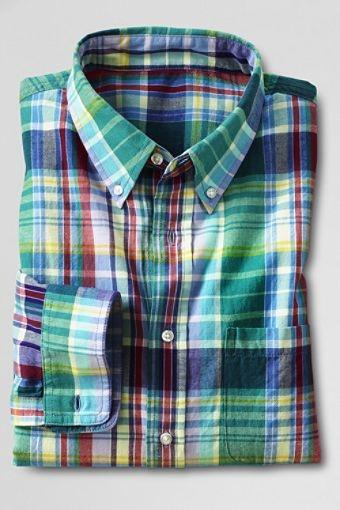 Men's Regular Long Sleeve Dark Violet Madras Shirt $50.