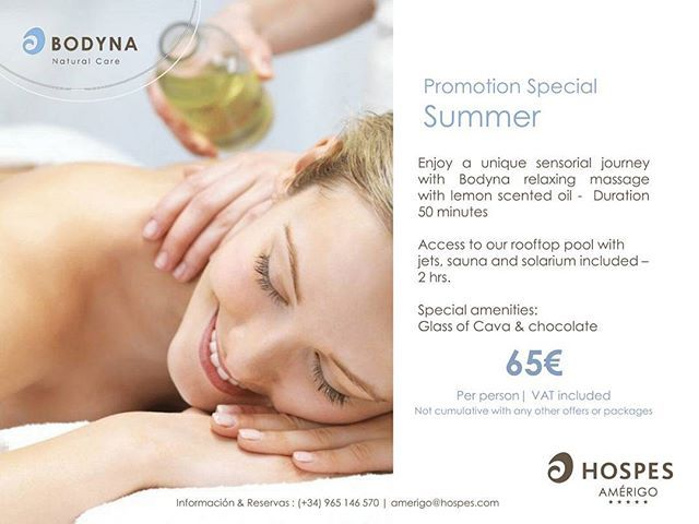 ​Promotion Summer  A sensorial journey: ​Bodyna massage with lemon scented oil #spa #alicante #hotel #massage