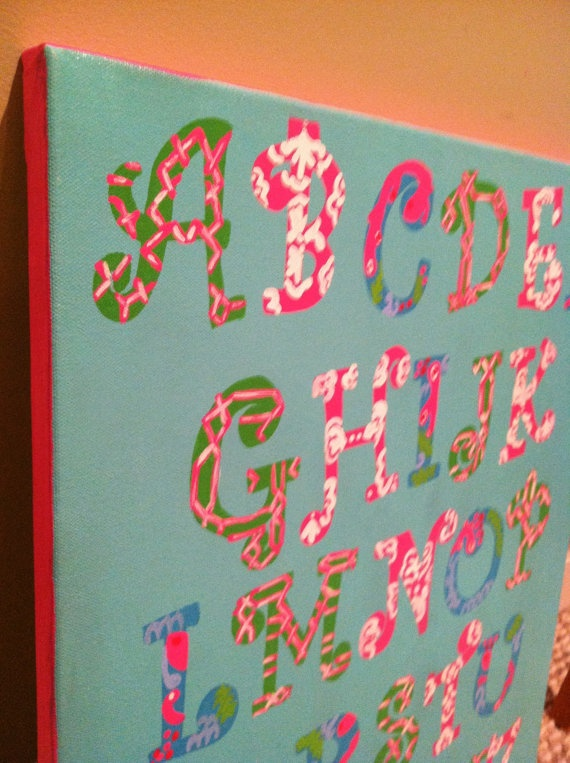Lilly Pulitzer Nursery Art Canvas ABC- my child will have this and with greek letters