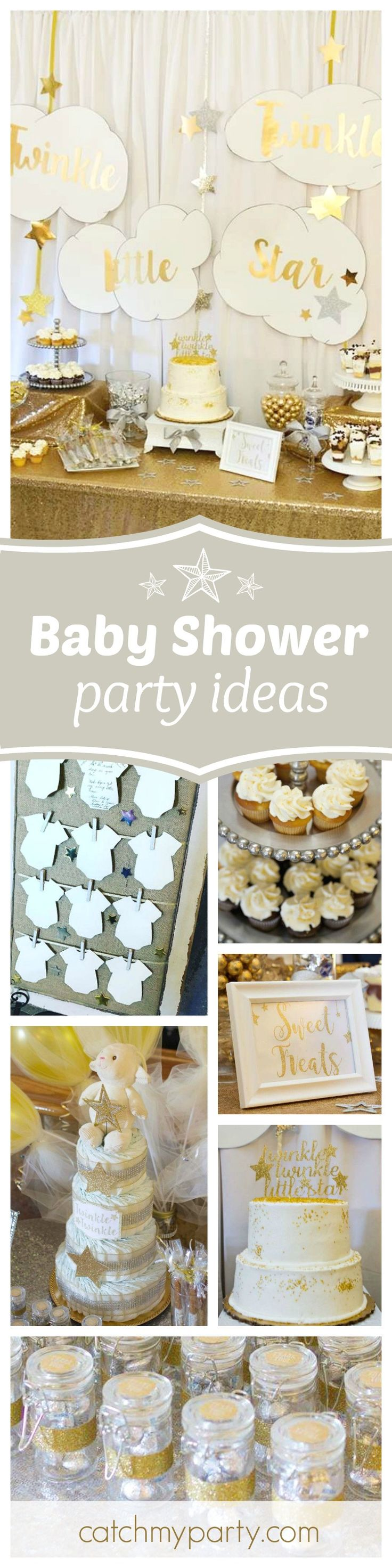 Check out this cute Twinkle twinkle little star baby shower. The cake is gorgeous! See more party ideas and share yours at CatchMyParty.com