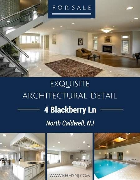 The property at #4BlackberryLn is truly an architectural gem. Beautiful marble flooring, sweeping glass and metal staircase, huge great room, all en suite bedrooms and an indoor pool are only a few of the amazing amenities this North Caldwell, NJ home has to offer. #northcaldwellhomesforsale #BHHSNJ
