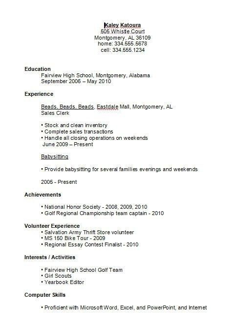 High School Student Resume Examples First Job Business Template