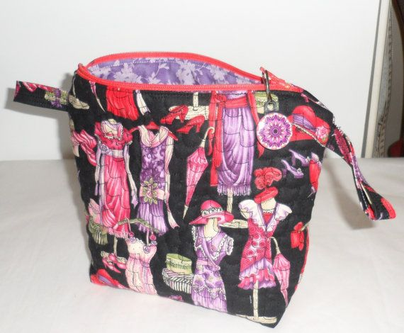 Quilted Fabric Zippered Cosmetic Bag/Handmade by BAGLADYFROMTHEBAY