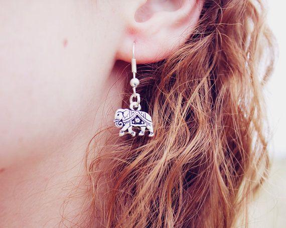 Bohemian Elephant Dangle Earrings - Sterling Silver Elephant Earrings - Lucky Elephant Earrings - Tiny Elephant - Tribal Earrings