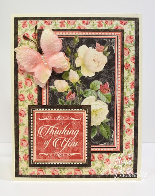 Embellished Dreams: The Stamp Simply Ribbon Store - Graphic 45 Mon Amour - Thinking Of You Card