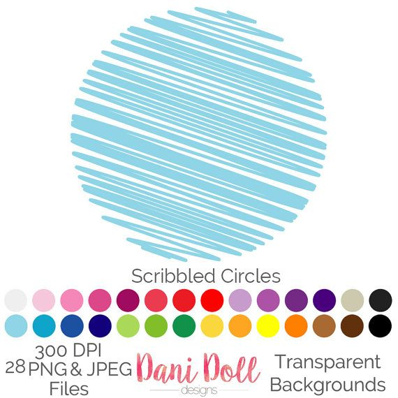 Scribbled Circle 28 Colours Clip Art Circular PNG JPEG Commercial Use Scrapbooking Instant Download by danidolldesignsx