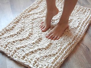 This soft cotton rug is so fun and easy to make.