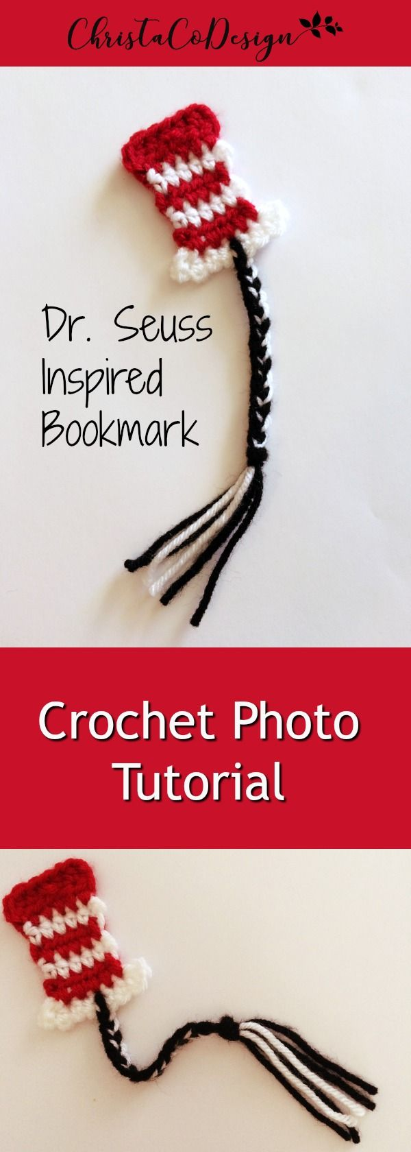 Dr. Seuss inspired bookmark | crochet bookmark | photo tutorial | crochet tutorial | easy crochet pattern | beginner crochet tutorial | cat in the hat | bookmarks | diy bookmark