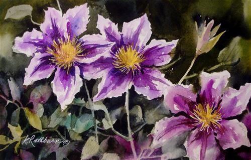 """Clematis"" - Original Fine Art for Sale - © Kathy Los-Rathburn"
