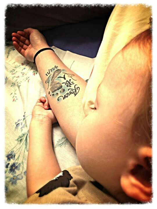 Baby footprint tattoo. I will design my own, this is the perfect placement for covering up what I already have there.