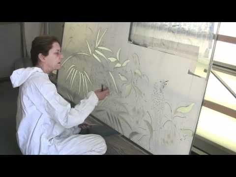 Donna Burrows IS Glass Elegance. She designs and sandblasts glass for doors, windows, table tops, and showers.