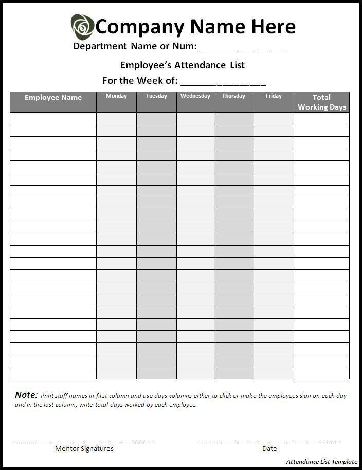 10  attendance list templates