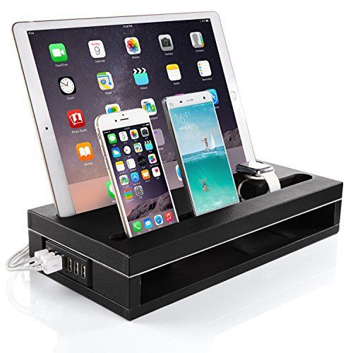 iPad Pro Stand Charger 12.9/9.7 & Apple Watch Stand and iPhone Charging Dock StationKonsait Multi Device Charger Station for iPad Pro Charging Dock Holder  6 ports Smart Charger (Black Leatherette)