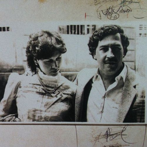 """theparisreview:  Pablo Escobar and his wife, Victoria Henao, in a police file photograph from the early eighties. They were married in 1976, when Henao was fifteen years old. """"His visual record is composed only of fragments,"""" writes James Mollison in his essay """"Bandit,"""" """"and the collection of photographs and documents that remain have the quality of a forensic dossier."""""""