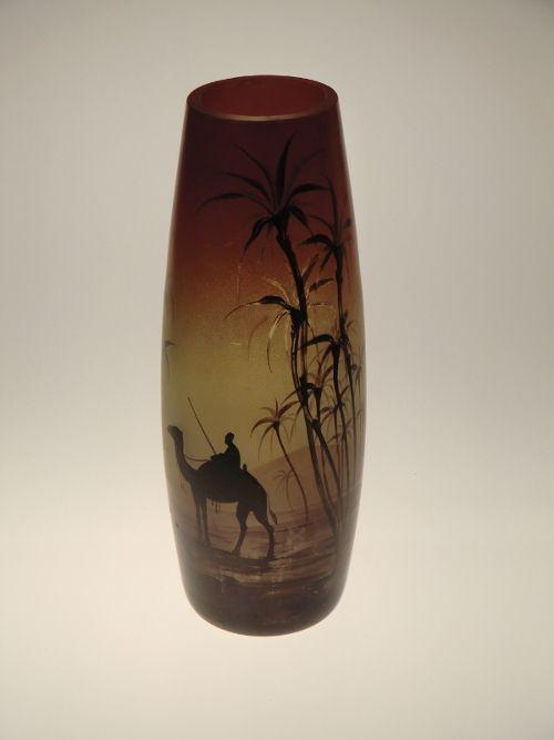 Czech Bohemian Art Deco Painted Desert Scene Vase by Karl Palda