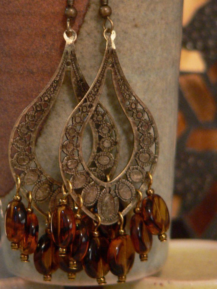 Chandelier earring, brass earring, brass metal filigree, brown swirled glass, brown chandelier, brown earring, bold earring by sallysbeadsnc on Etsy