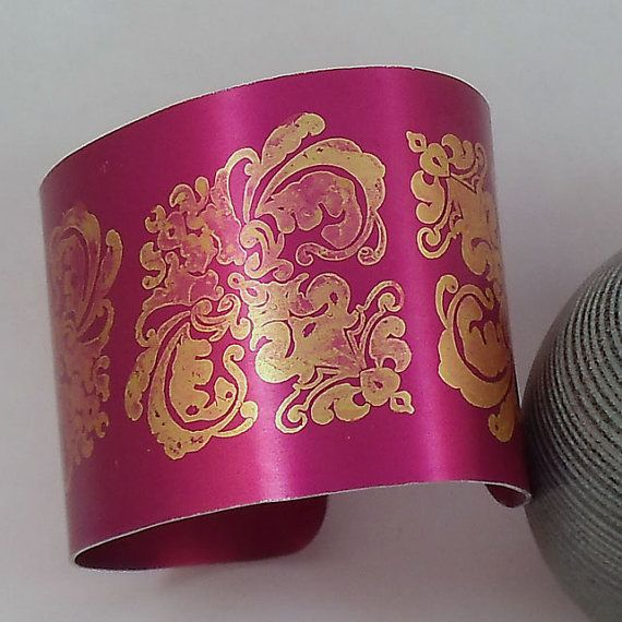 Burgundy and Gold Damask Anodised Aluminium Cuff by AnnaMadeThis, £19.50