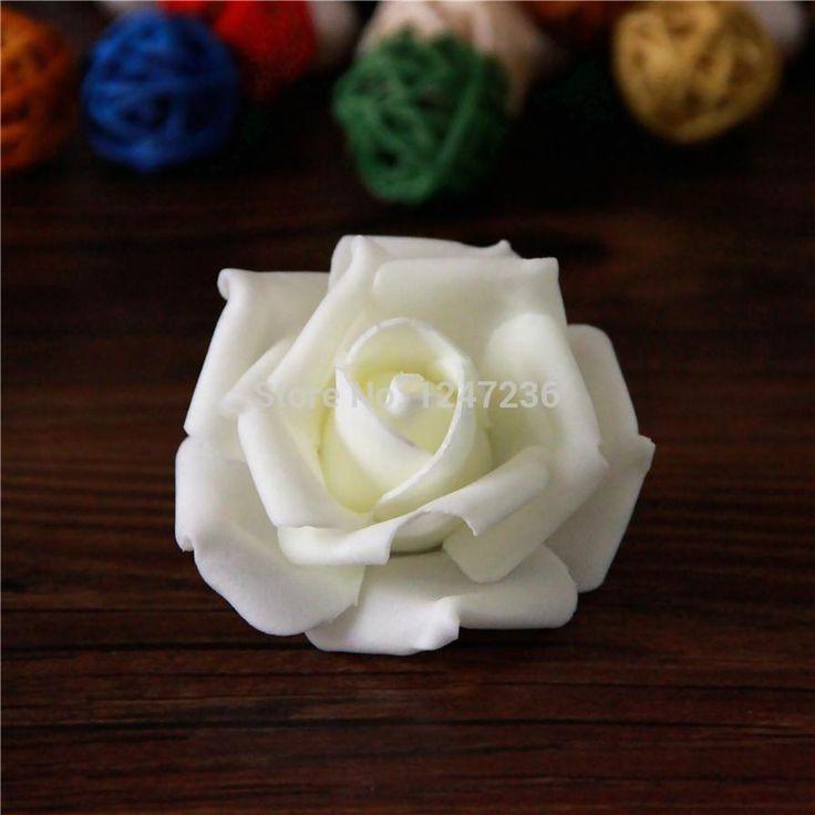 Hot artificiels mousse Roses pour la maison et décoration de mariage capitules boules à baiser pour les mariages lait blanc 7 cm(China (Mainland))