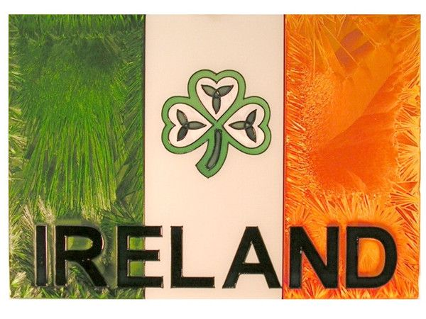 The Irish flag with a shamrock whimsically positioned in the center will add Irish charm to any space.