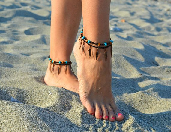 anklets anklets with feather summer anklets barefoot