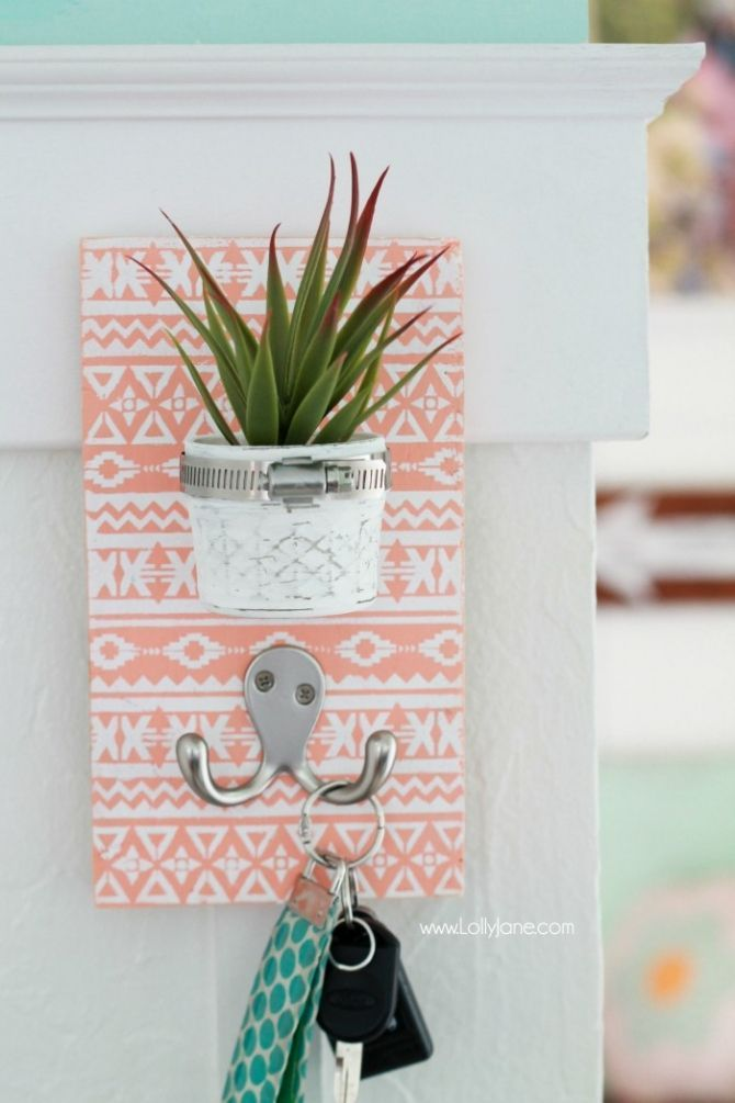 DIY Stenciled Succulent Potted Mason Jar Key Holder