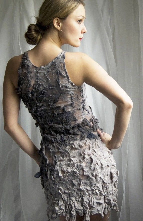 Nuno felted eco dress - She Bird OOAK grey, elegant, low bun, fashion