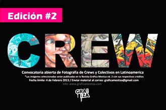 "Convocatoria revista Gráfica Mestiza edición 2. Temática: ""crews latinoamericanas"".. mas info: www.graficamestiza.com"
