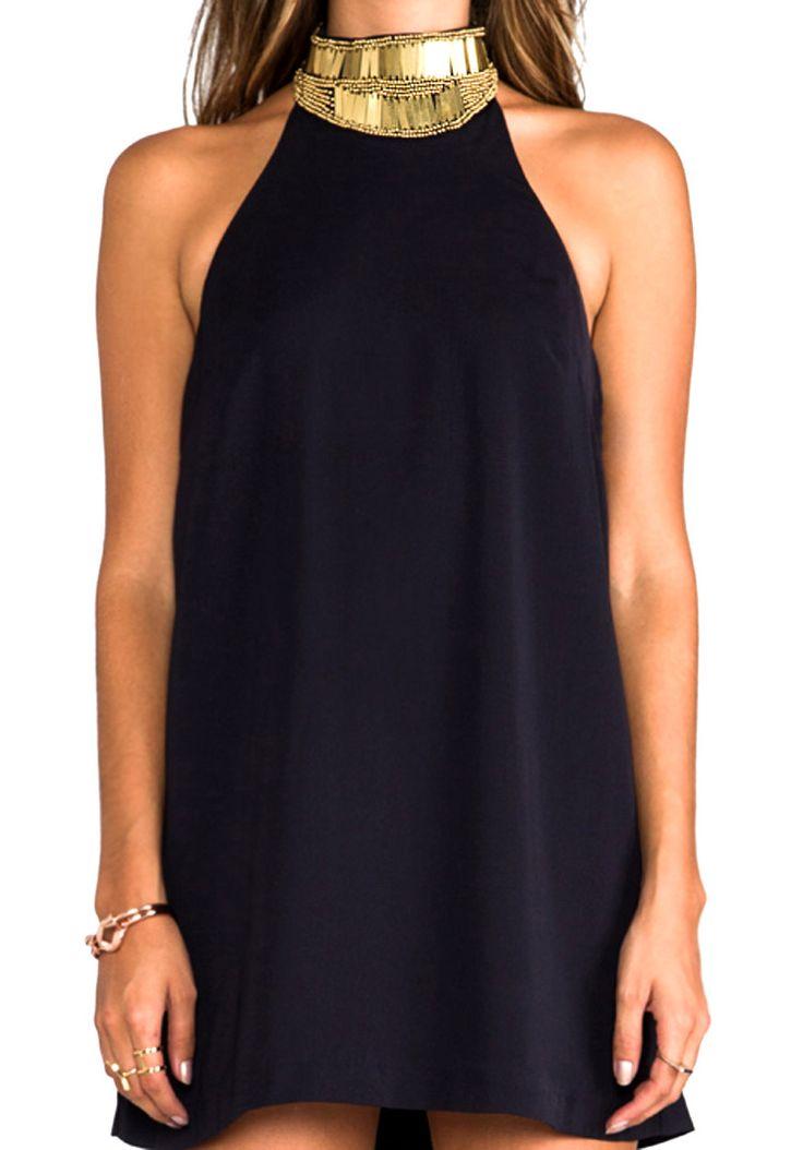 Mini Black Dress with metallic gold beading neckline