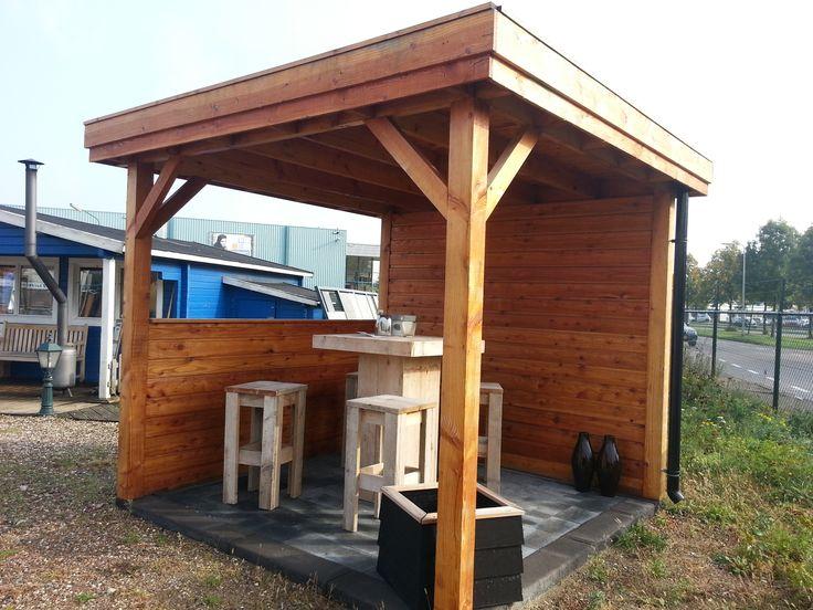 Prieel overkapping paviljoen maatwerk lariks hout tuin sfeer steigerhout meubelset bar - Modern prieel aluminium ...