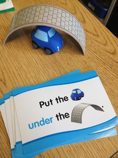 The Autism Tank: Preposition Activity...wondering if i can make something similar. Got to find some good objects