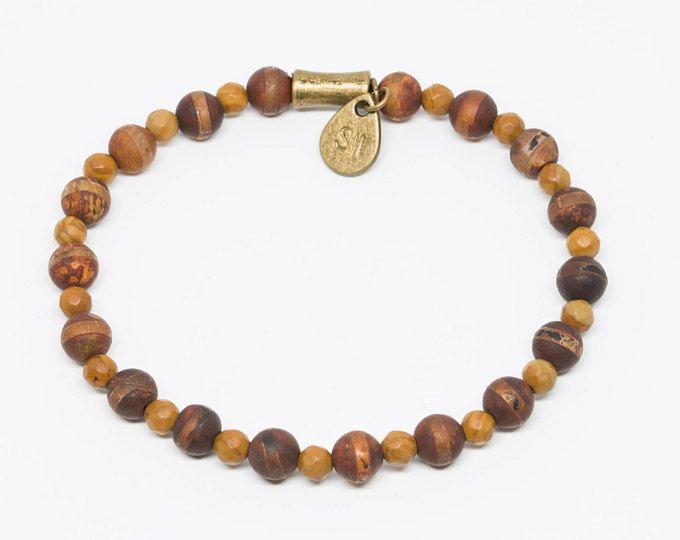 Tibetan dZi and Petrified Wood beads with Hand-stamped Pendant - Handmade Stretch Bracelet, Womens Bracelet, Mens Bracelet