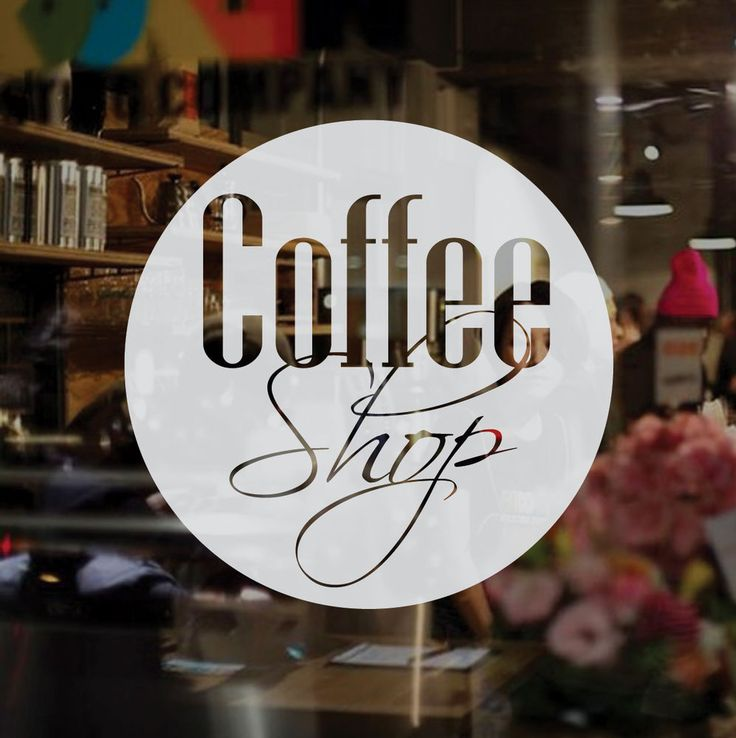 Coffee Shop Frosted Etched Vinyl Window Sticker Large
