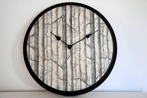 Wall Clock-Black-Tree pattern