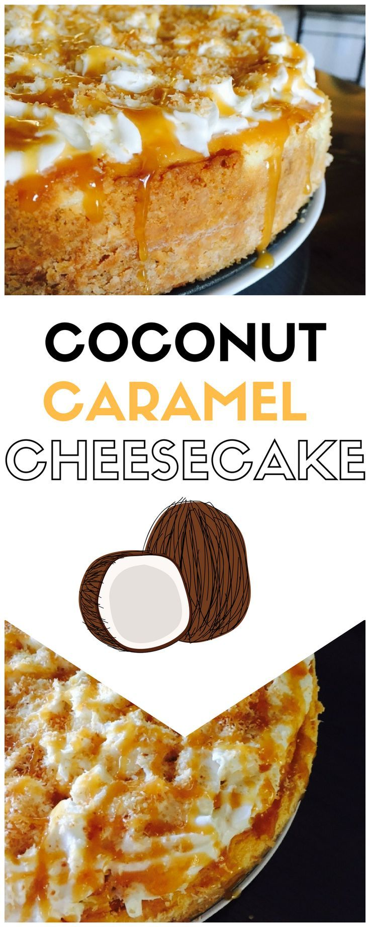 Smooth, creamy, & delicious are the words to describe this Caramel Coconut Cheesecake. Impress your family or friends today. #cheesecake #coconut