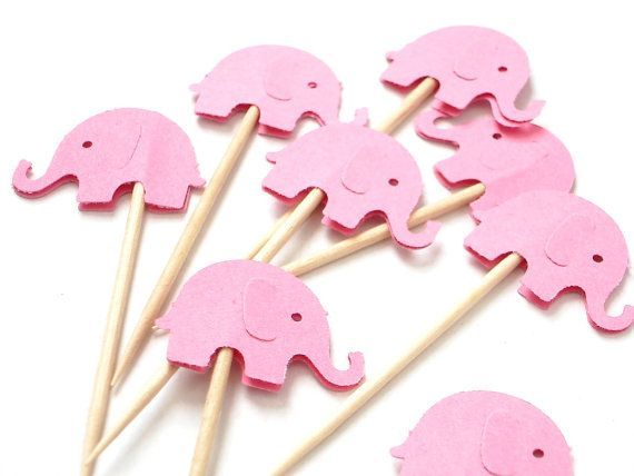 24 Decorative Pink Elephant party picks toothpicks by BelowBlink