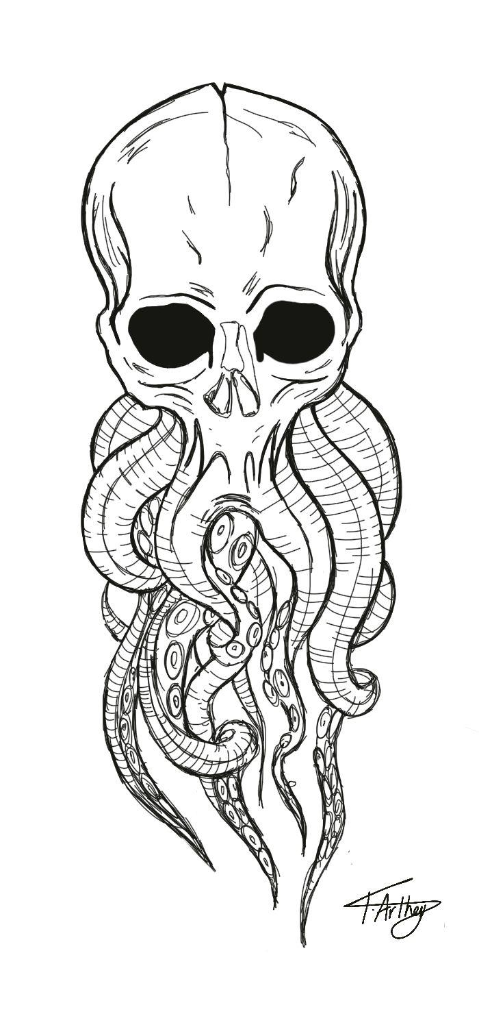 Skull Octopus Tentacles Tattoo Drawing Ipad Pro Black